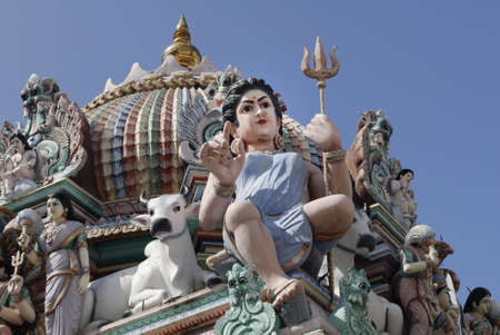 Sculptures in Sri Mariamman Temple. The oldest Hindu temple in Singapore. Built in 1827 along Telok Ayer Street in the Chinatown district.  It is a National Monument Stock Photo - 4989337