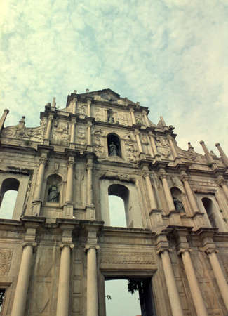 Ruins of St Paul in Macau.  The Facade of the Cathedral of St Paul in Macau.  Built from 1582 to 1602 by the Jesuits photo