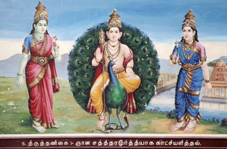 mariamman: Artwork on the ceiling in Sri Mariamman Temple. The fresco shows Lord Shamukha on a peacock standing on a cobra.  The oldest Hindu temple in Singapore. Built in 1827 along Telok Ayer Street in the Chinatown district.  It is a National Monument  Stock Photo