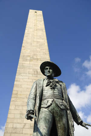 Located in Charlestown, Massachusetts.  This commemorates the Battle of Bunker Hill.  The statue of Colonel William Prescott is in front of the Obelisk photo