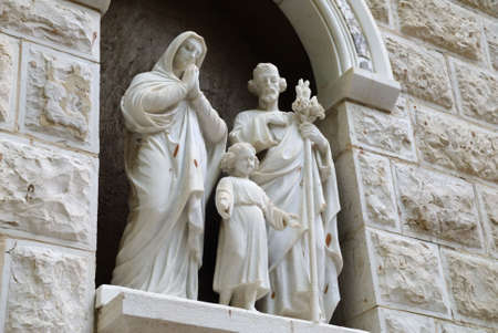 Statue of The Holy Family, St Joseph, St Mary and the child Jesus at the entrance of St Joseph's Church, Nazareth Israel Stock Photo - 6691235