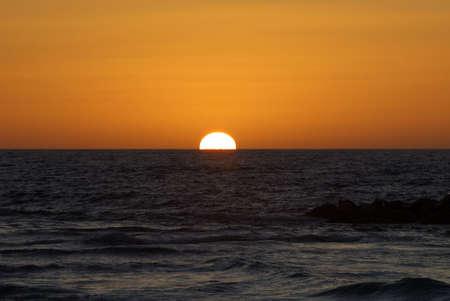 Sunset at the beach in Tel Aviv, Israel
