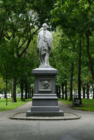 alexander hamilton: Commonwealth avenue in Boston, Massachusetts, USA.  The statue of Alexander Hamilton.  He was the first US secretary of the Treasury.