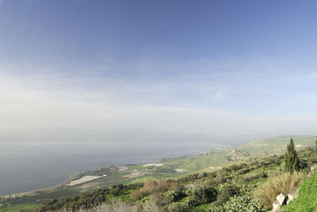 galilee: View of the Sea of Galilee from the Golan Heights in Israel Stock Photo