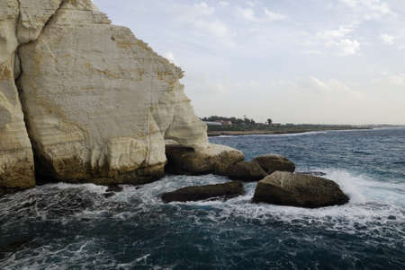 View of the coastline at the Israel bordering with Lebanon of Rosh HaNikra near the Grottoes photo