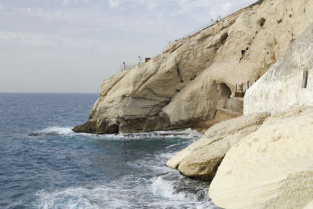 hanikra: View of the coastline at the Israel bordering with Lebanon of Rosh HaNikra near the Grottoes