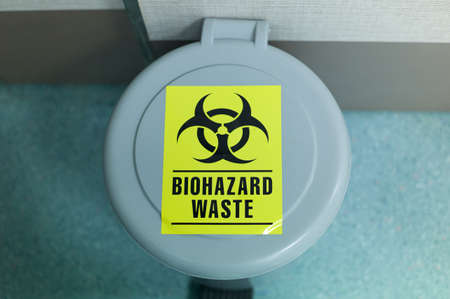 Waste bin containing biohazard materials found in hospitals