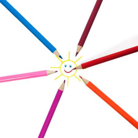 depict: Colorful pencils radiating from the center and depict the sun