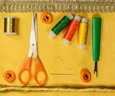 ripper: Accessories for sewing and needlework: thread, scissors, buttons, needle, ripper. Stock Photo