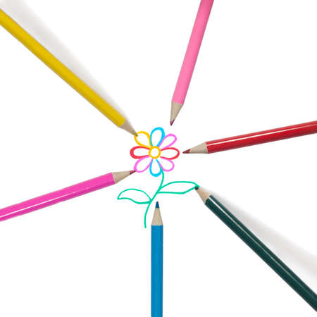 Colorful pencils radiating from the center and paint a flower  photo
