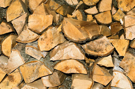 kindling: Dry firewood stacked for kindling the furnace. Natural horizontal background Stock Photo