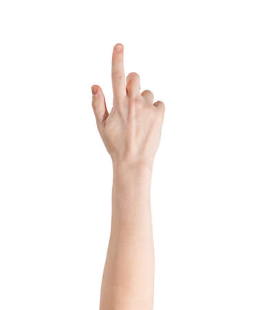 White female hand with index finger raised up and pointing, isolated on a white. photo