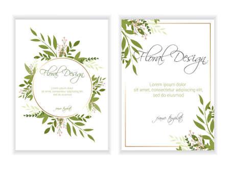 Banner auf Blumenhintergrund. Hochzeitseinladung, modernes Kartendesign. eps 10.