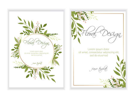 Banner on flower background. Wedding Invitation, modern card Design. eps 10. Çizim
