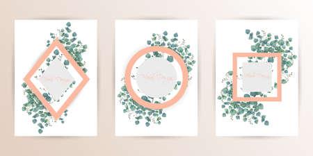 Frame on flower background. Wedding Invitation, modern card Design. geometric golden frame print. eps 10.