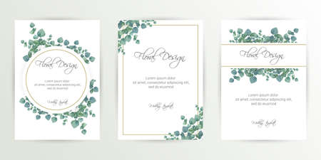 Banner on flower background. Wedding Invitation, modern card Design. Save the Date Card Templates Set with Greenery, Decorative Floral and Herbs Element. Vintage Botanical. eps 10 Vector Illustratie