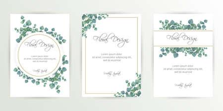 Banner sobre fondo de flores. Invitación de boda, diseño de tarjeta moderna. Guarde el conjunto de plantillas de tarjetas de fecha con elementos verdes, florales decorativos y hierbas. Botánico vintage. eps 10 Ilustración de vector