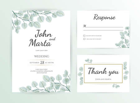 Wedding Invitation modern card Design: green tropical leaf greenery eucalyptus branches decorative wreath & frame.