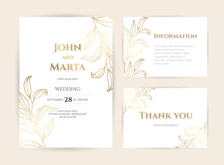 Luxury Wedding invitation cards with gold geometric polygonal lines vector design template. eps10