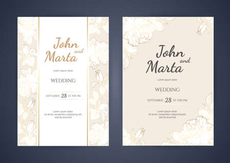 Wedding Invitation with Gold Flowers. background with geometric golden frame. Cover design with an ornament of golden leaves