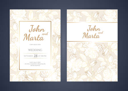 Wedding Invitation with Gold Flowers. background with geometric golden frame. Cover design with an ornament of golden leaves.