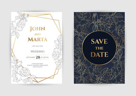 Wedding Invitation with Gold Flowers. background with geometric golden frame. Cover design with an ornament of golden leaves. Stock Illustratie