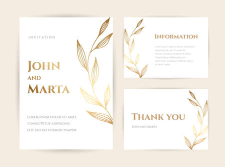 Wedding Invitation with Gold Flowers and gold geometric line design. background with geometric golden frame. Stock Illustratie