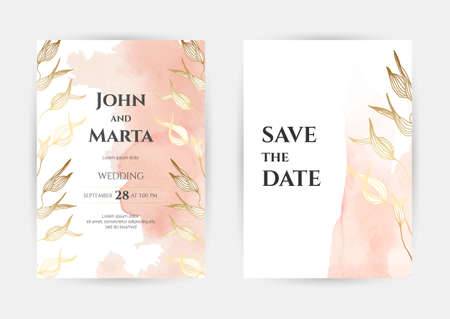 wedding invitation templates. Cover design with gold ornaments. set with hand drawn watercolor background. Stock Illustratie