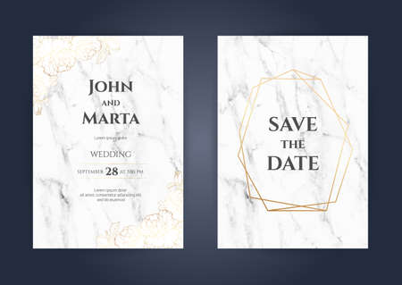 Luxury Marble Wedding invitation cards with gold geometric polygonal lines vector design template. Stock Illustratie
