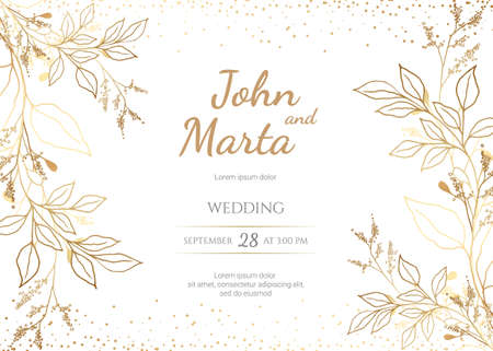 Wedding Invitation with Gold Flowers. background with geometric golden frame. Cover design with an ornament of golden leaves.Trendy templates for banner, flyer, poster, greeting. eps8 Stock Illustratie