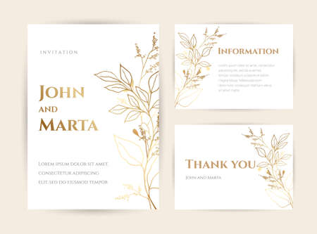 Wedding Invitation with Gold Flowers. background with geometric golden frame. Cover design with an ornament of golden leaves.Trendy templates for banner, flyer, poster, greeting
