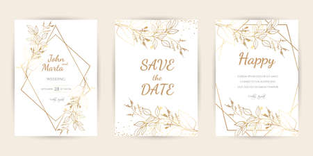 Wedding Invitation with Gold Flowers. background with geometric golden frame. Cover design with an ornament of golden leaves. Trendy templates for banner, flyer, poster, greeting