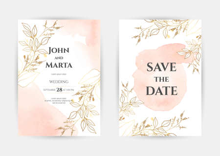 wedding invitation templates. Cover design with gold ornaments. set with hand drawn watercolor background. Trendy templates for banner, flyer, poster, greeting Stock Illustratie