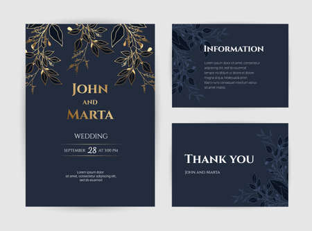 Wedding Invitation with Gold Flowers. background with geometric golden frame. Cover design with an ornament of golden leaves.Trendy templates for banner, flyer, poster, greeting Vetores
