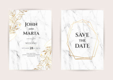 Luxury Marble Wedding invitation cards with gold geometric polygonal lines vector design template. Trendy templates for banner, flyer, poster, greeting
