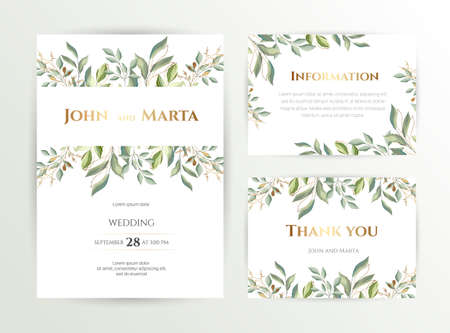 Wedding invite. Set of card with leaves and geometrical frame. Design with forest green leaves, eucalyptus, fern & golden geometric frame. Floral Trendy templates for banner, flyer, poster, greeting.