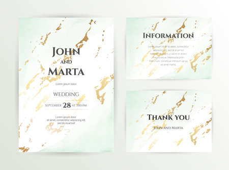 wedding invitation templates. Cover design with gold ornaments. set with hand drawn watercolor background. Trendy templates for banner, flyer, poster, greeting.