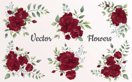 Set of Flower red rose, green leaves. Floral poster, invite. Vector arrangements for greeting card or invitation design background