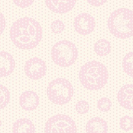 ivory pink tulip dot seamless print background design  イラスト・ベクター素材