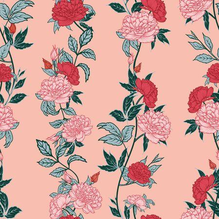 pink red peony flower leaf stem blush background design