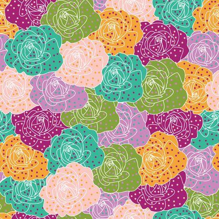 rose dot colorful flower ivory background design  イラスト・ベクター素材