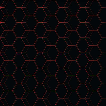 abstract geometry polygon in black and gradient red seamless pattern design