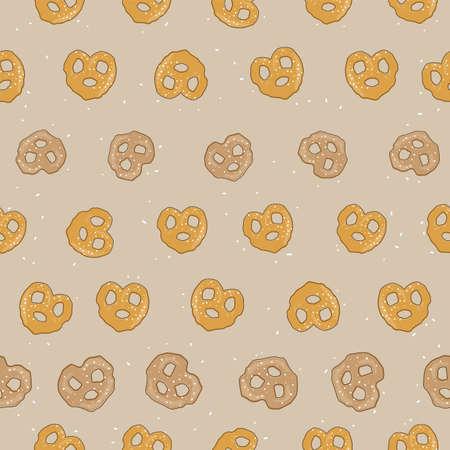 salted pretzel seamless pattern on beige background design