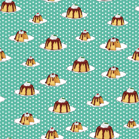 pudding chocolate topping polka dot background seamless vector pattern design