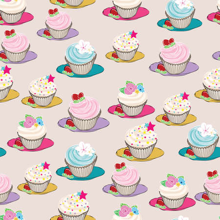 Seamless pattern of hand drawn cupcakes on plate background design