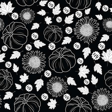 Thanksgiving line art pumpkins, sunflower, leaf seamless pattern background design