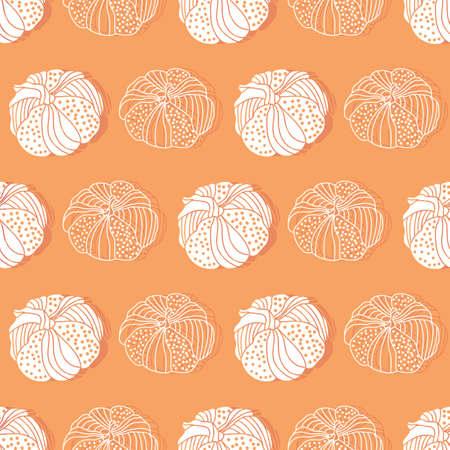 Thanksgiving abstract line doodle art pumpkins seamless pattern background design Иллюстрация