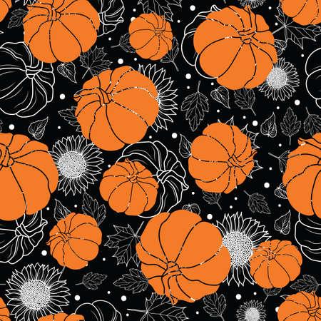 Thanksgiving line art pumpkins, sunflower, leaf seamless pattern on black and white background design
