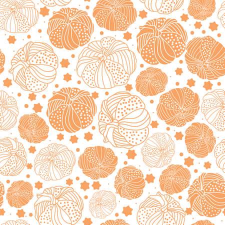 Thanksgiving line doodle art pumpkins seamless pattern background design Иллюстрация