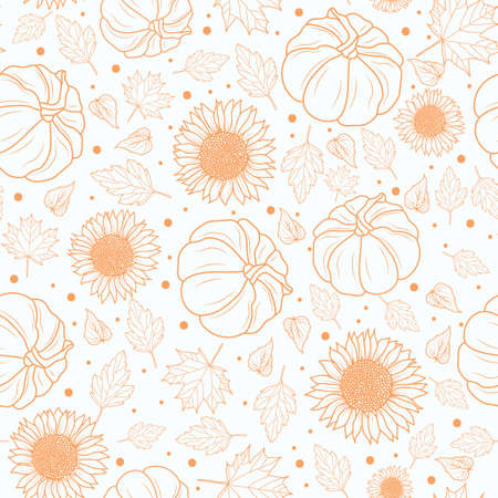 Thanksgiving line art pumpkins, sunflower, leaf seamless pattern on white background design
